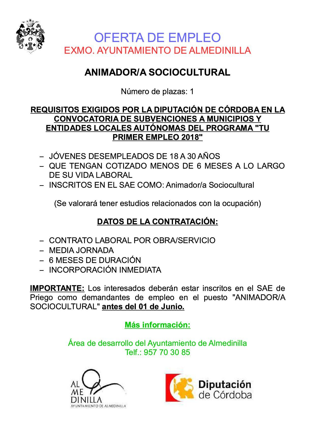 """OFERTA EMPLEO """"ANIMADOR/A SOCIOCULTURAL"""" 1"""