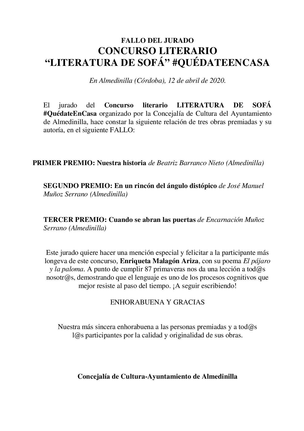 """FALLO JURADO """"LITERATURA DE SOFÁ"""" 1"""