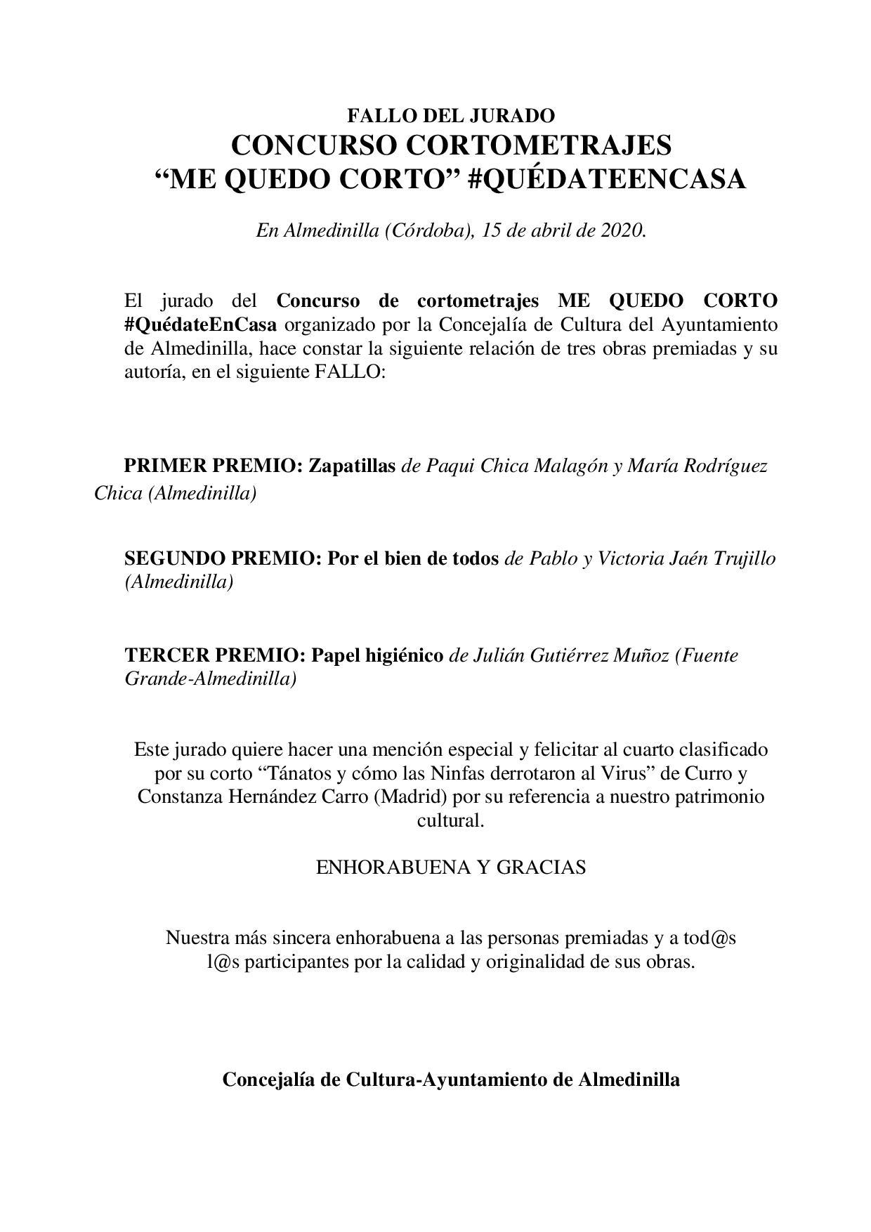 FALLO JURADO CONCURSO CORTOS 1