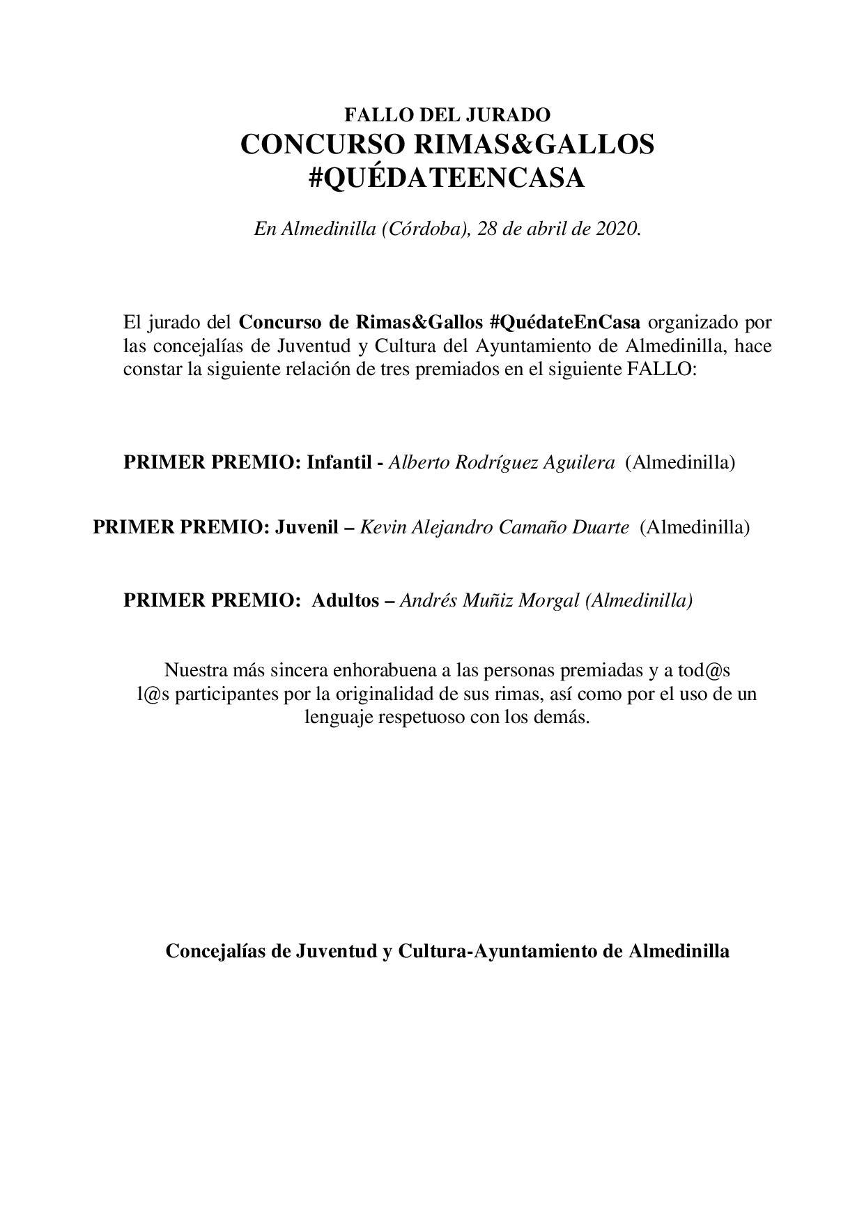 FALLO JURADO CONCURSO RIMAS&GALLOS 1