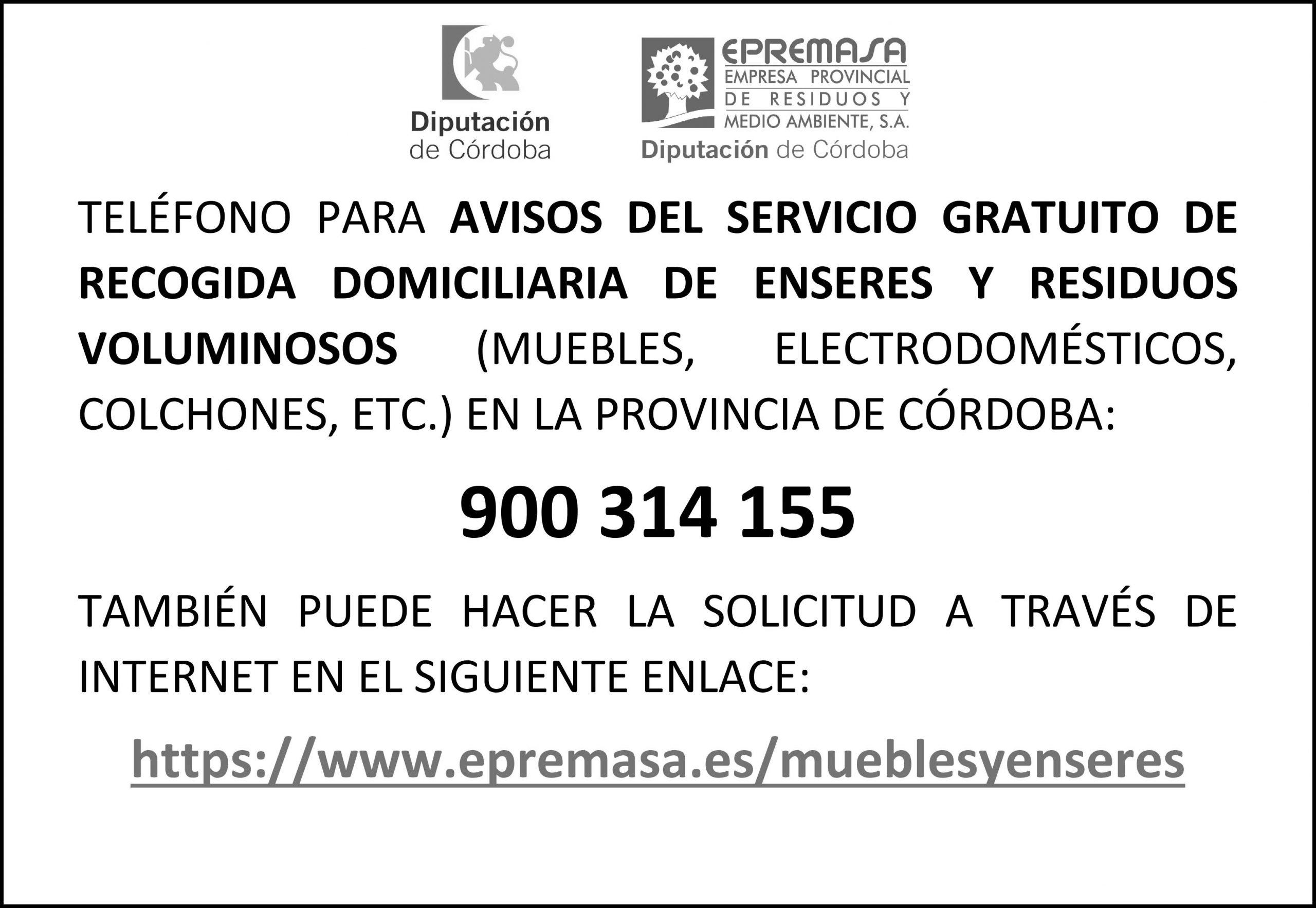 Servicio a domicilio gratuito de EPREMASA para recogida de enseres 1