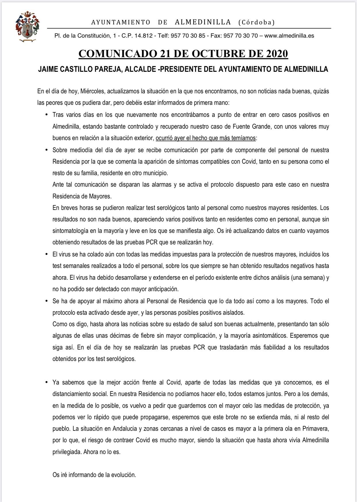 Comunicado Covid-19 del 21 de octubre 2020 1