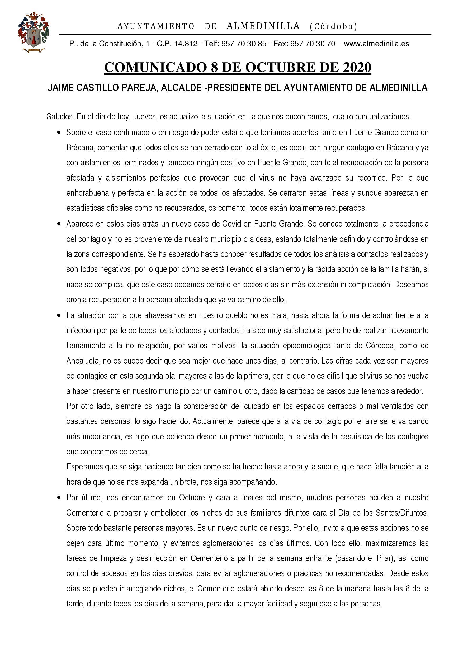 Comunicado de nuestro alcalde sobre la situación actual del Covid19 1