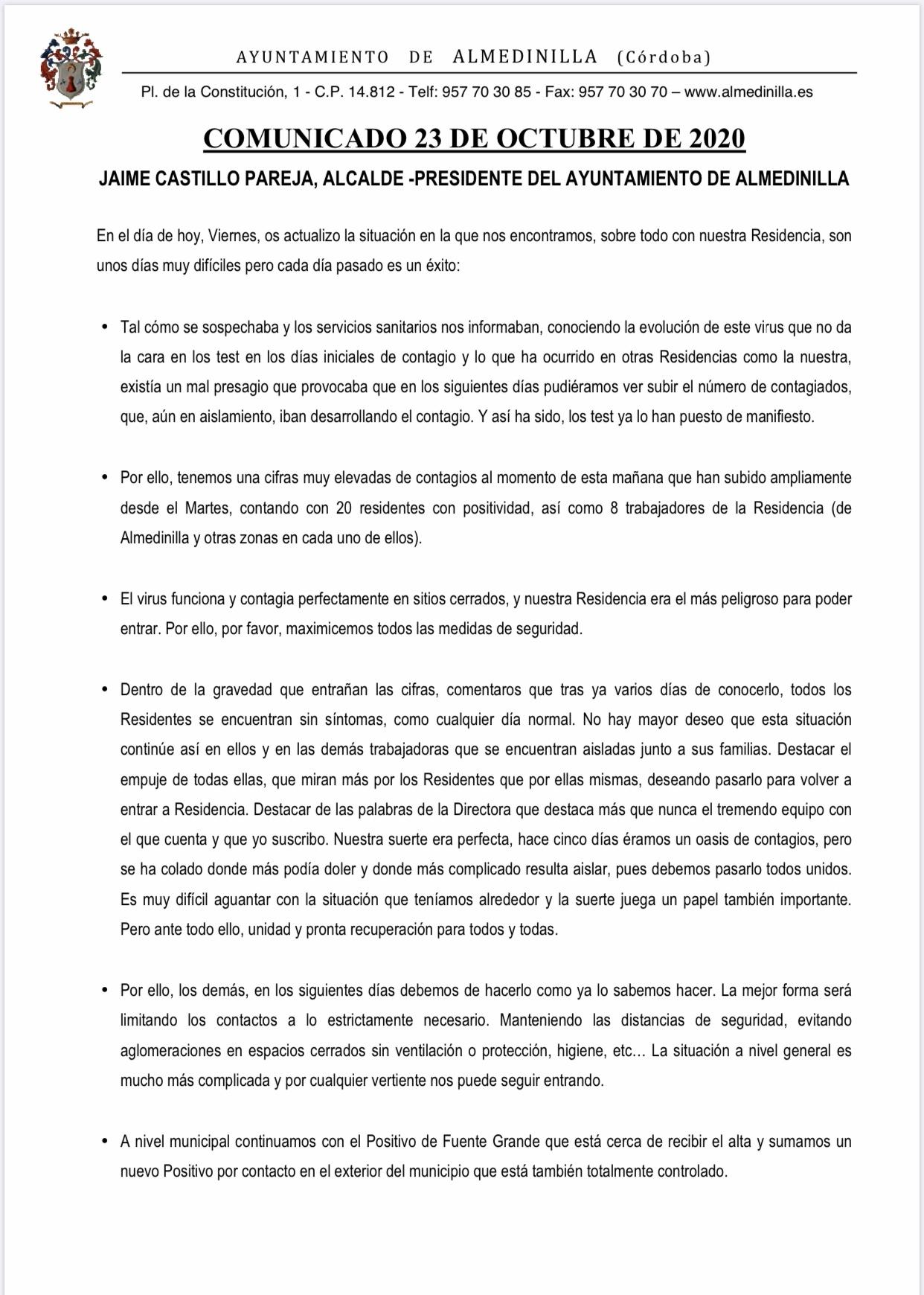 Comunicado sobre la situación actual #Covid19 en nuestro municipio a 23 de octubre 2020 1