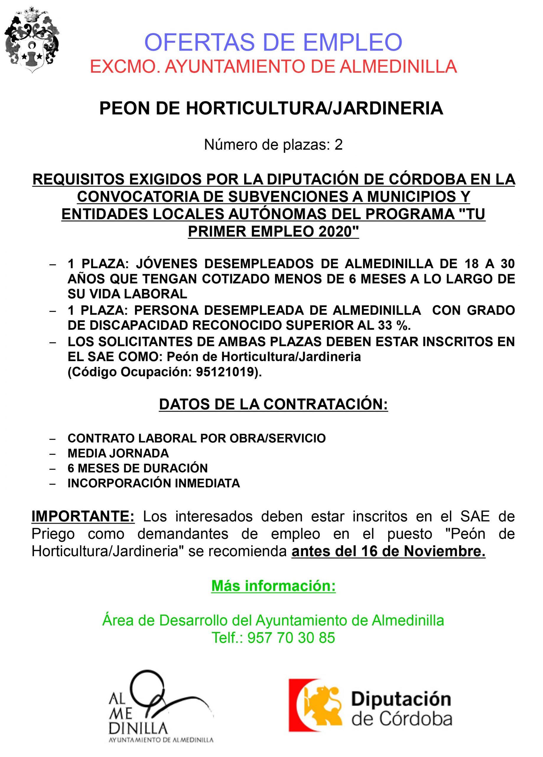 """Se ofertan dos plazas de """"Peón de Horticultura/Jardinería"""" 1"""