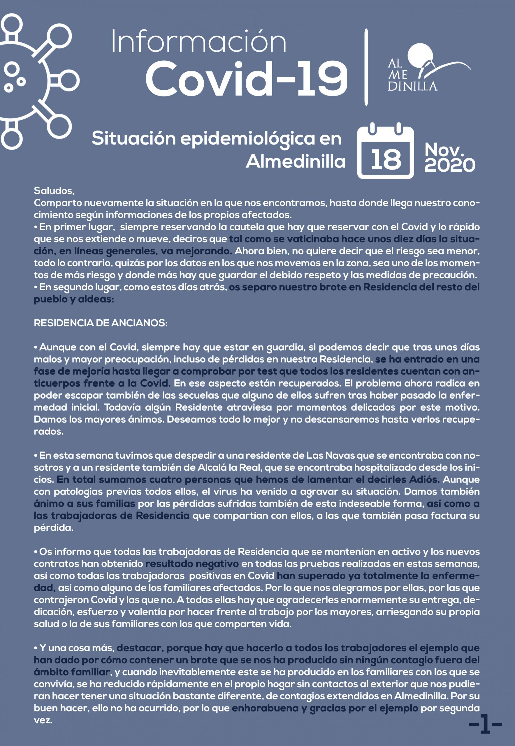 Situación epidemiológica de Almedinilla a 18 de noviembre 2020 1