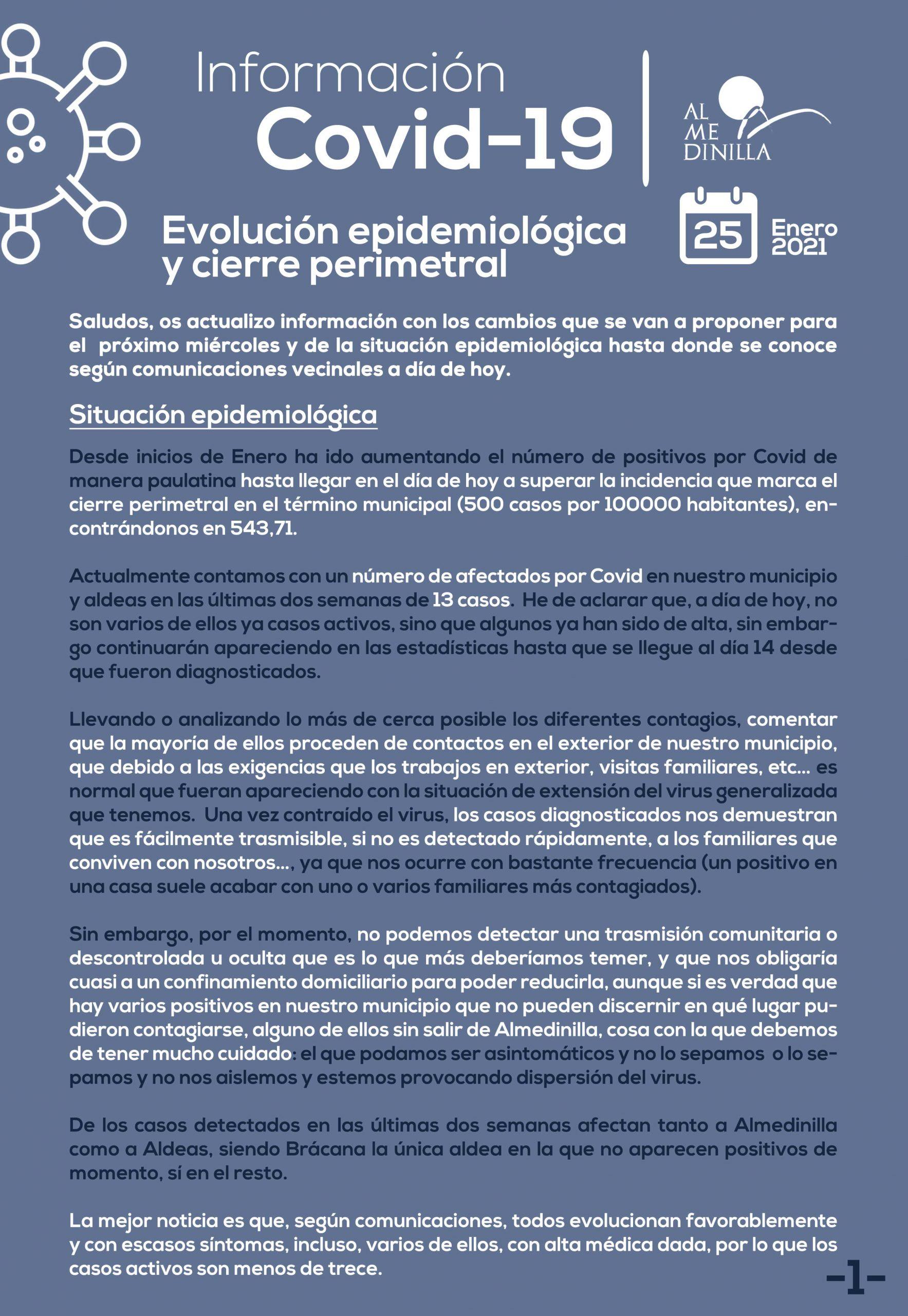 Evolución epidemiológica a 25 de enero 2021 y cierre perimetral de Almedinilla 1