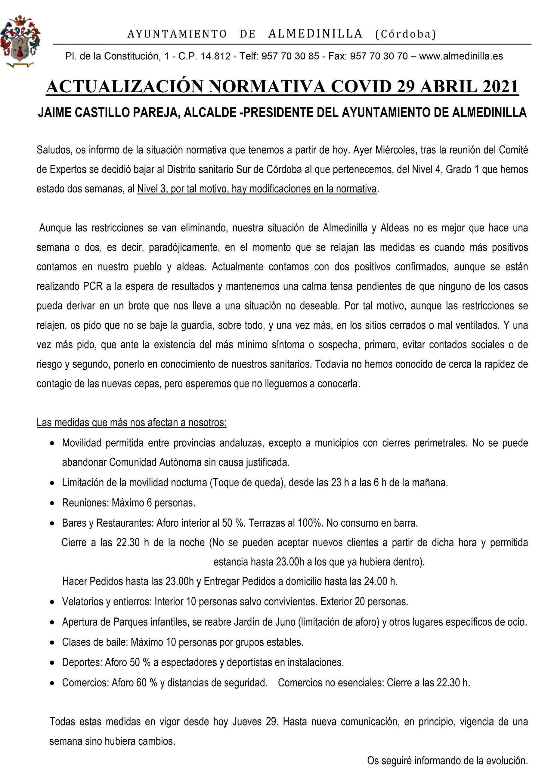 COMUNICADO ALMEDINILLA 29 ABRIL 2021